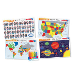 Presidents, US map, world map, and solar system mats