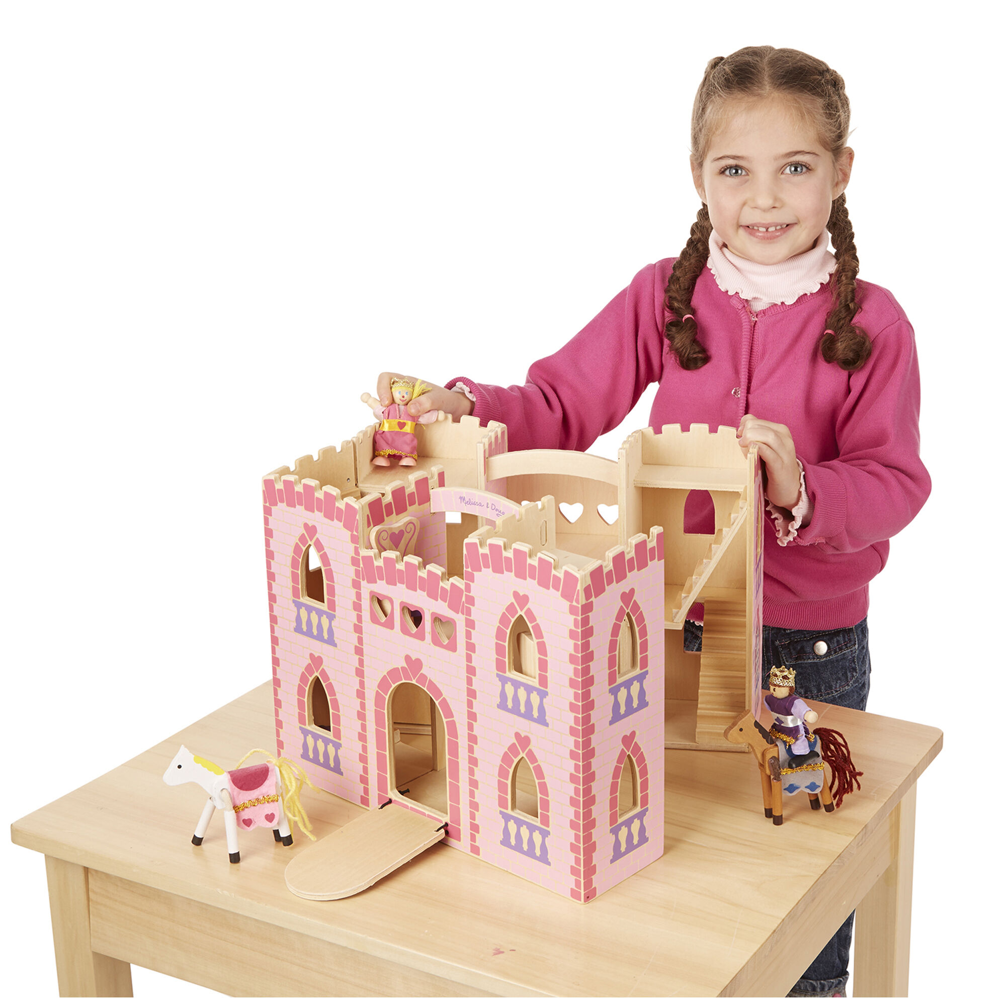 Fold /& Go Wooden Castle Dollhouse With Wooden Dolls /& Horses Building Toy 12 pcs