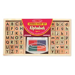 Alphabet wooden stamp set and stamp pad in packaging