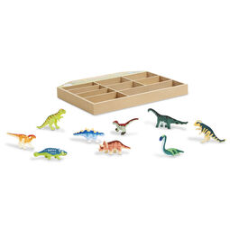 Various dinosaur figures outside of wooden case