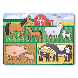 Eight piece peg puzzle with Horses, Sheep, Pigs, and Cows