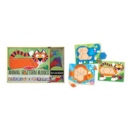 Animal pattern blocks set in packaging