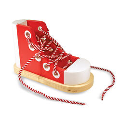 Wooden shoe with untied laces