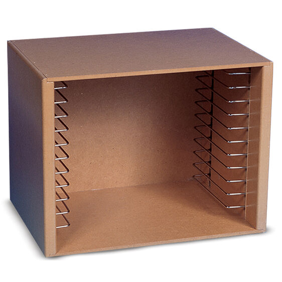 Open front prism shaped wooden box with metal rod shelves on inner sides