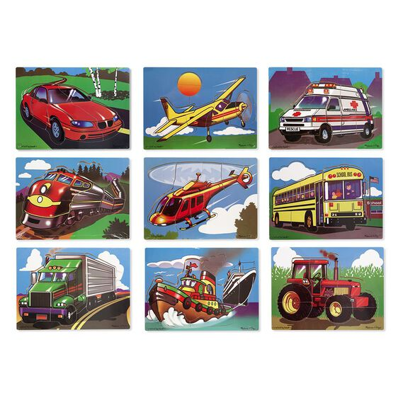 Set of nine puzzles with car, plane, ambulance, train, helicopter, school bus, truck, boat, and tractor puzzles