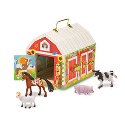 Wooden barn toy with latches and farm animal figures