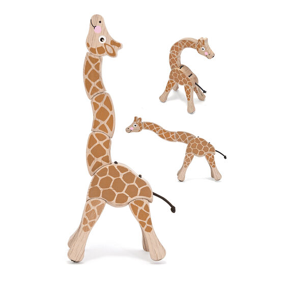 Wooden giraffe with flexible joints