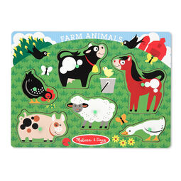Six piece farm animals sound puzzle with Chicken, Pig, Cow, Sheep, Horse, and Duck pieces