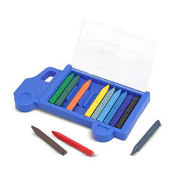 Multi-colored crayons in truck shaped case