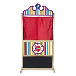 Colored puppet theater with red curtain, chalk board, and pretend clock