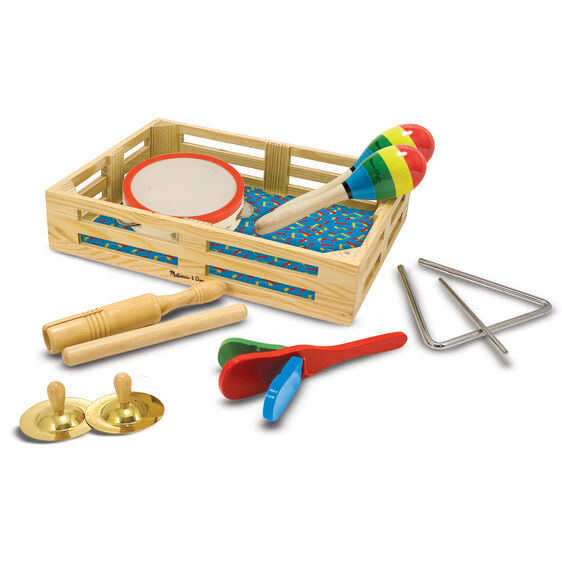 Wooden box with various percussion instruments