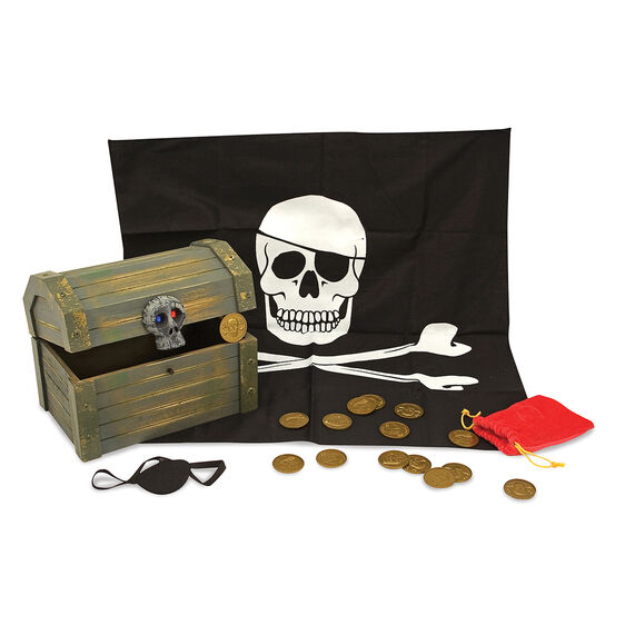 Wooden pirate chest, eye patch, pirate flag, and coin bag with pirate coins