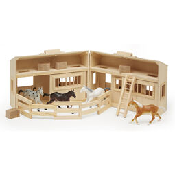 Foldable wooden stable with horse figures