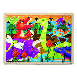 Dinosaur themed wooden puzzle with wooden case