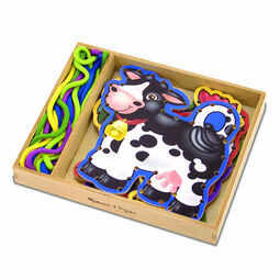 Ropes and farm animal lacing cards in wooden case