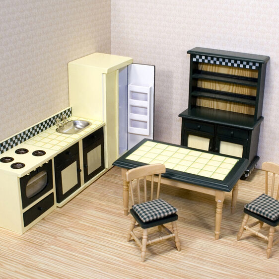 Miniature kitchen appliances and furniture