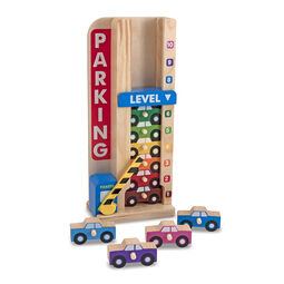Stacked wooden cars in wooden parking tower