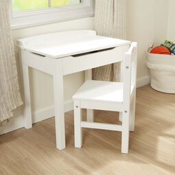 White lift-top desk and chair
