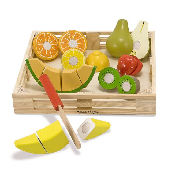 Wooden tray with various wooden cutting fruit