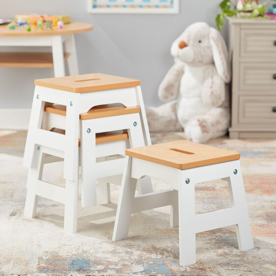 Wooden Stools - Set of 4 (White/Natural)
