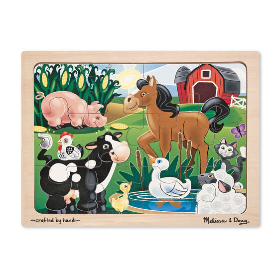 Farm animal themed wooden puzzle with wooden case