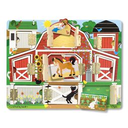 Farm themed board with opening doors