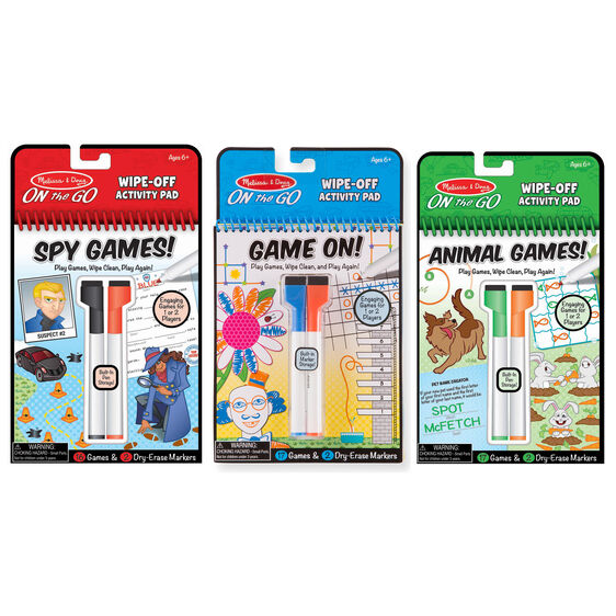 On the Go Wipe-Off Activity Pad Games Bundle 3-Pack: Spy Games, Animal Games and Game on