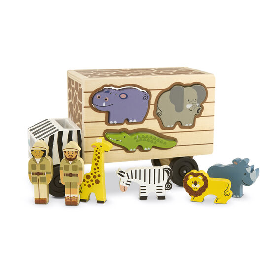 Wooden safari car with removable animals and people figures