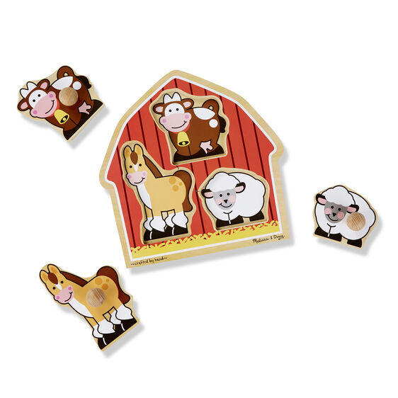 Three piece jumbo knob puzzle in the shape of a barn with horse, cow, and sheep pieces removed