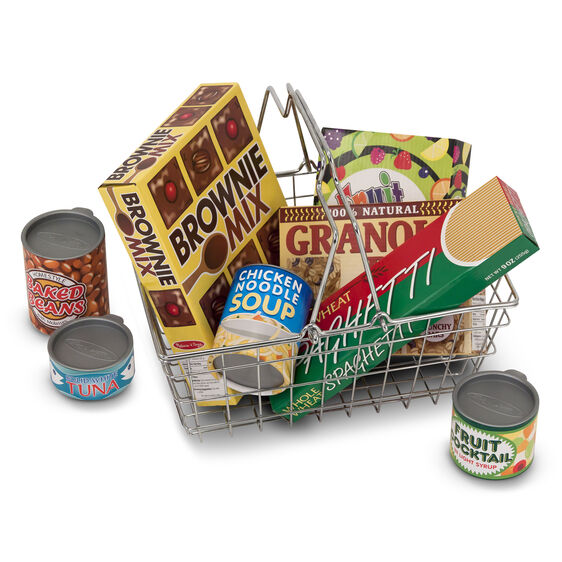 Metal grocery basket with play food boxes and cans