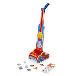 Wooden vacuum cleaner with wooden pieces and cleaning checklist