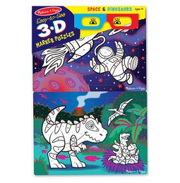 Easy-to-See 3D Marker Coloring Puzzles - Space & Dinosaurs