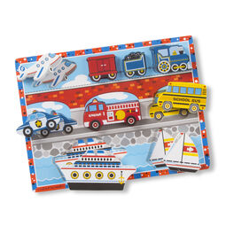 Nine piece vehicles chunky puzzle with plane, train, police car, fire truck, school bus, ship, and sailboat pieces