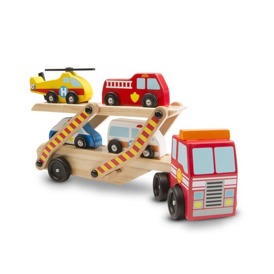 Wooden emergency vehicle carrier with helicopter, fire truck, police car, and ambulance