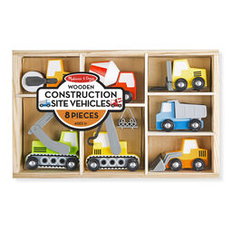 Wooden construction vehicles and wooden case in packaging