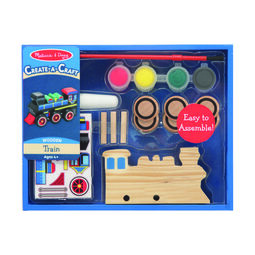 Wooden train with paint and stickers for decoration in packaging