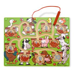 Farm animal themed magnetic number maze