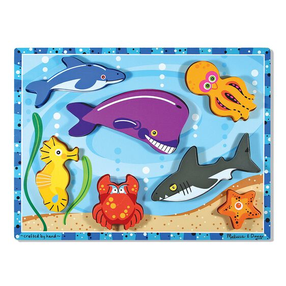 Seven piece sea creatures chunky puzzle with Dolphin, Sea Horse, Whale, Crab, Shark, Octopus, and Starfish pieces