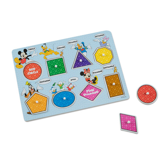 Disney Mickey Mouse Colors & Shapes Wooden Peg Puzzle
