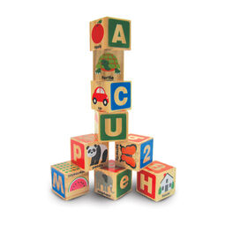 Tower of colored ABC/123 blocks