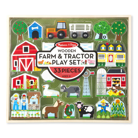 Wooden farm and tractor pieces