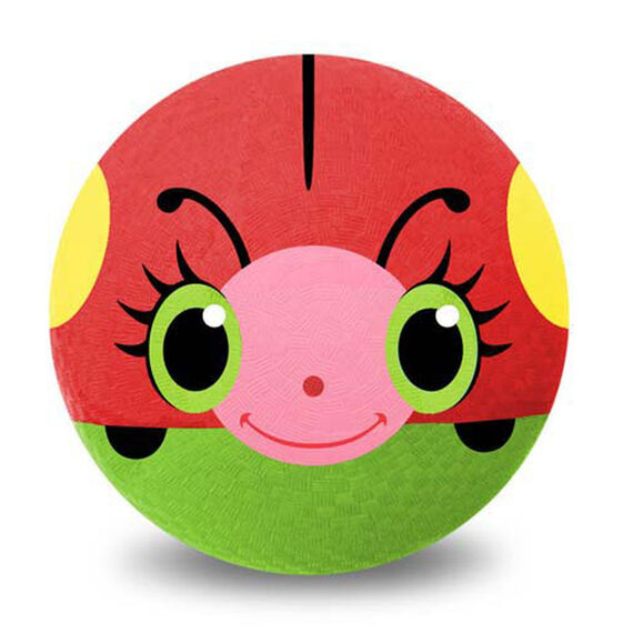 Red ball with yellow spots and green bottom with a happy painted ladybug face