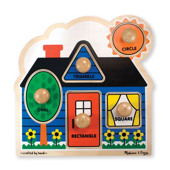 Five piece jumbo knob puzzle in the shape of a house with oval, triangle, rectangle, square, and circle pieces