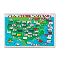 Map of United States with license plate pieces attached to the appropriate states