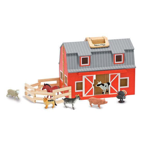 Foldable wooden barn with farm animal figures