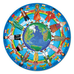 Circular floor puzzle with various children of the world holding hands around the earth