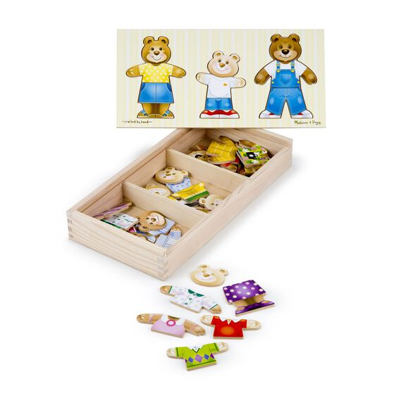 Bear family dress up puzzle with many bear and bear clothing pieces in wooden case