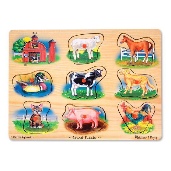 Sound puzzle with various farm animal pieces