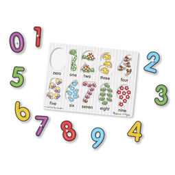 Ten piece numbers peg puzzle with pieces removed