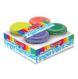 Finger paint jars in packaging